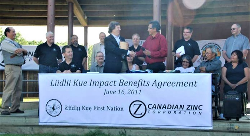 Canadian Zinc Chairman, John F. Kearney (left) and Chief Jim Antoine, Chief of the Liidlii Kue First Nation (right) signing the Liidlii Kue Impact Benefit Agreement 2011. Photo Credits to: NWT & Nunavut Chamber of Mines (Northern Mining News - Vol. 4, No. 6, July 2011) Used with permission from: Doug Ashbury [166]