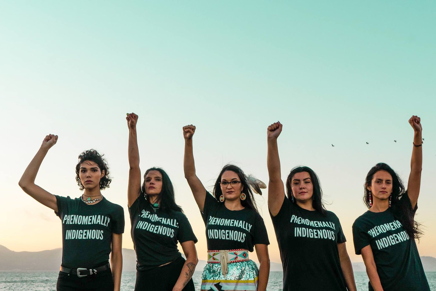 """""""Phenomenally Indigenous"""" T-shirts in support of Equal Pay for Native Women. Credits to: Urban Native [179]"""