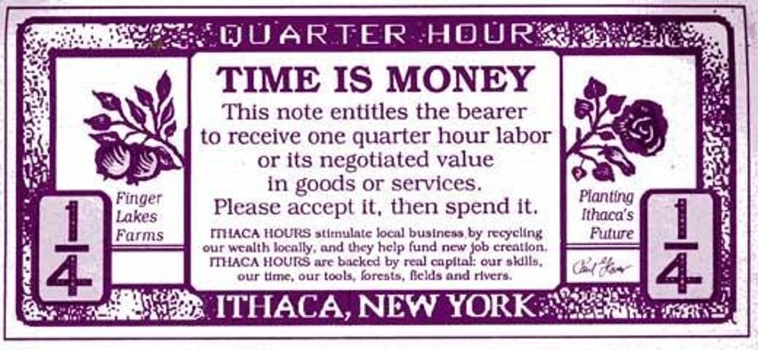 The Ithaca Hour, used since 1991, is denominated in units of time between 2 hours and 1/10 of an hour. Photo Credit: Ithaca Times.[178]