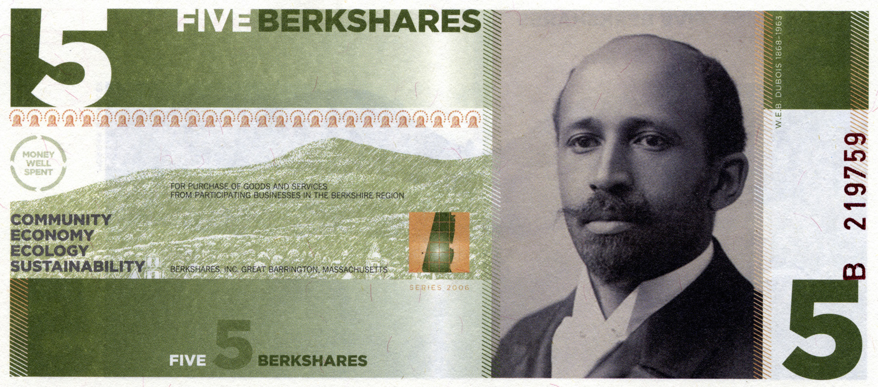 The Berkshare, used since 2006, is denominated between 1 and 50.Change less than $1 has to be made using US coins. Photo credit: changemakers.com [177]