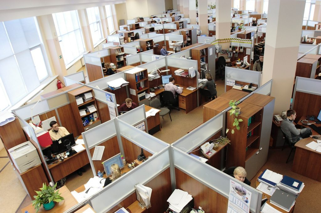 image of an office with multiple cubicles