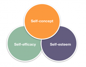 diagram showing three circles with the words self-concept, self-efficacy, and self-esteem