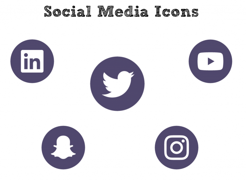 collection of icons of social media including linkedin, twitter, youtube, snapchat and instagram