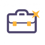 icon of a briefcase with a star on the upper right corner
