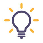 """icon showing a lightbulb with lines emitting as a representation of """"on"""""""