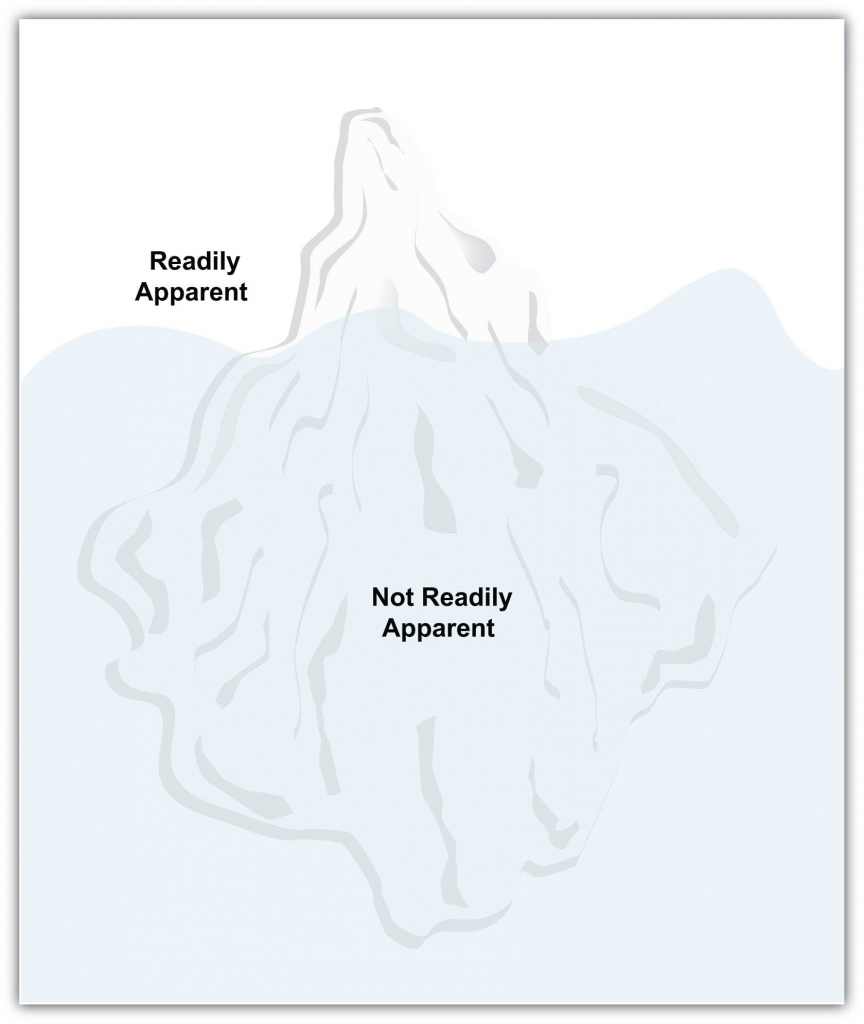 illustration of an iceberg with only a small part above the water