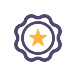 icon of an award with a star at the centre representing quality