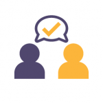 icon of two people with a check mark above their heads indicated agreement