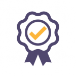 icon showing an award with a check mark at the centre