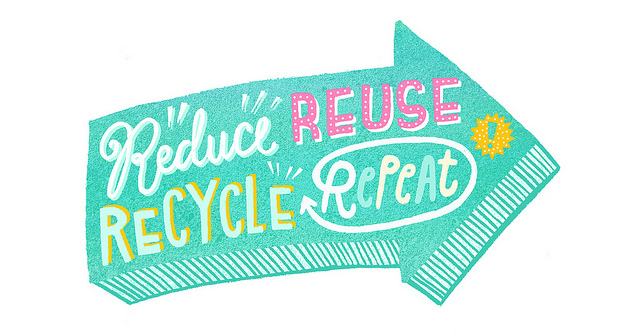 image of an arrow with the words reduce, reuse, recycle, repeat on it