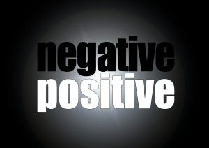 illustration of the words negative and positive in black and white colours