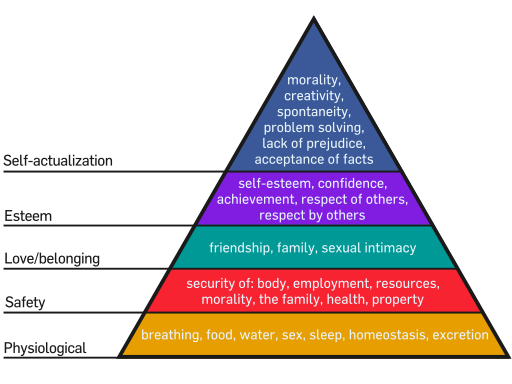 image describing Maslow's hierarchy of needs in a triangle illustration, the primary needs are physiological, safety, love and belonging, esteem, and self-actualization