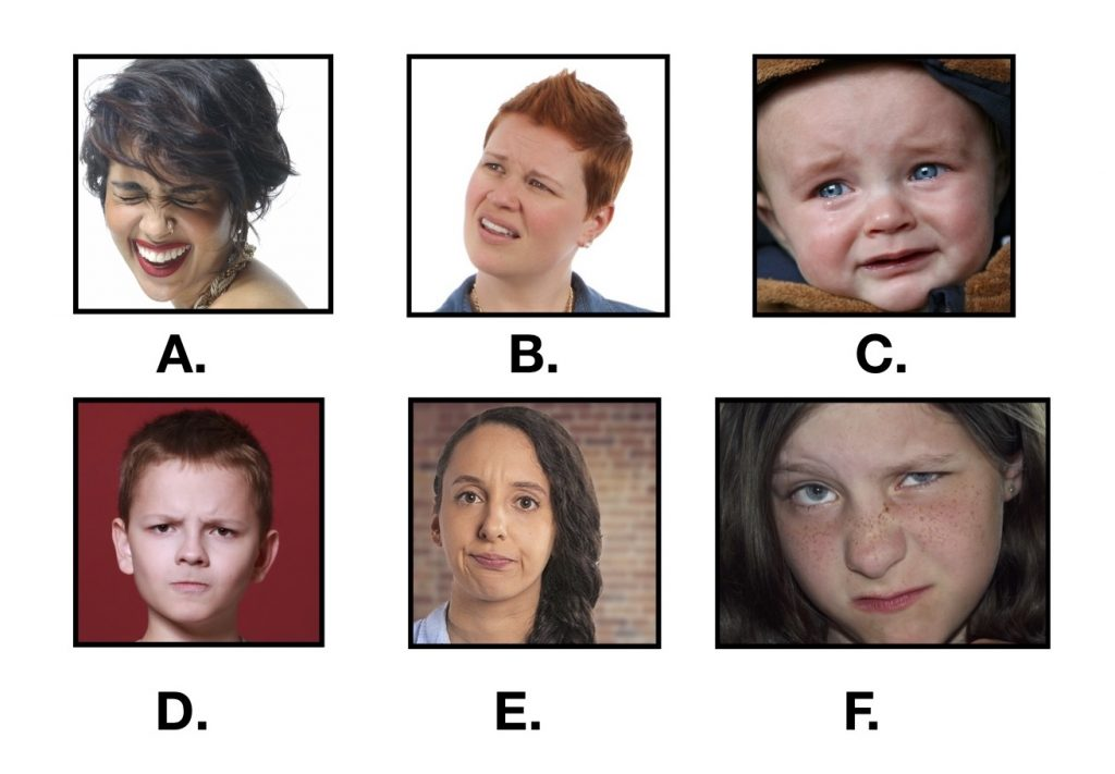 series of six images showing people with facial expressions. Image A shows a woman laughing and smiling; Image B shows a woman with furrowed eyebrows and her face slightly squinted; Image C shows a baby crying; Image D shows a boy with furrowed eyebrows, slit eyes, and closed mouth; Image E shows a woman with creased forehead, closed mouth, lips slightly turned down; Image F shows a girl with a crinkled nose, one eyebrow raised, one eye partially closed, mouth tight in a sneer.