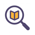 icon showing a magnifying glass with a book beneath it