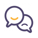 icon showing two dialogue balloons one with a smile one with a frown