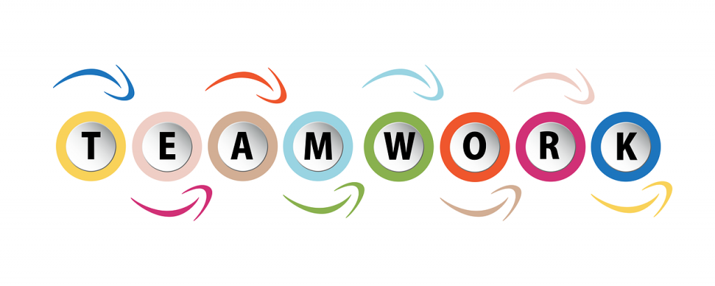 illustration of the word teamwork in a colourful design