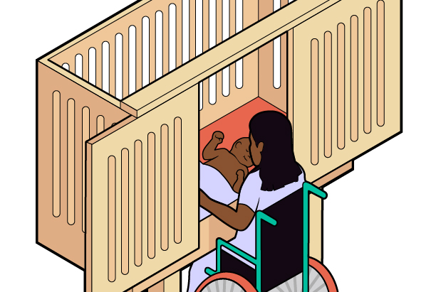 Figure 1-11. A woman in a wheelchair is shown using an accessible crib to tend to her baby. The woman opens the crib to reach her infant by sliding the crib walls open, instead of reaching over the top of the crib.