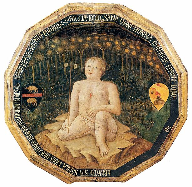 Figure 1-3 A twelve-sided dish, made from painted wood, with gold edges. In the center, is a replication of a late-gothic, early renaissance-style painting of the birth of St. John the Baptist. The baby is sitting in a forest or garden. Since this would have been given as a present to wealthy new parents, the coat of arms for each parent appears to the left and right of the baby.