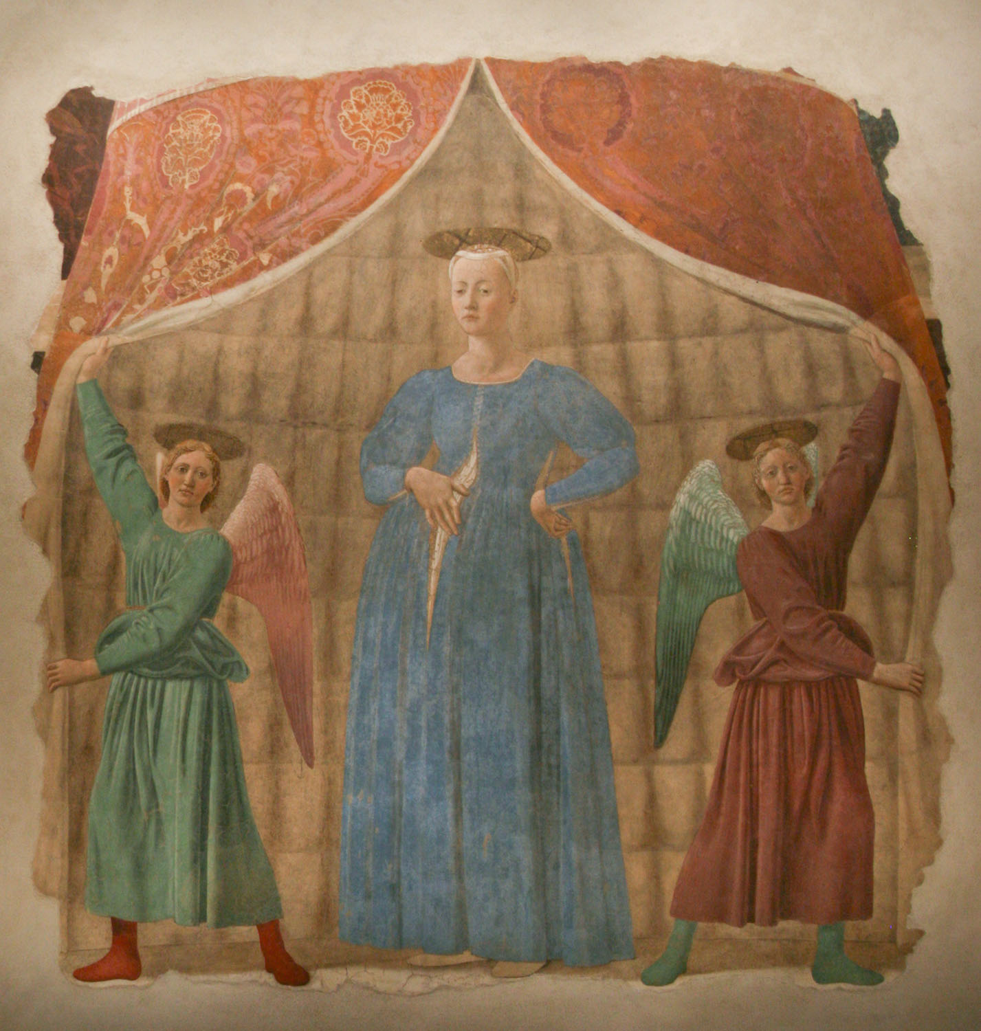 Figure 1-4. A renaissance fresco of two angels, one in green and one in red, parting a curtain to reveal the pregnant Virgin Mary. Mary is wearing blue and is resting one hand on her pregnant belly. Her other hand supports her back.