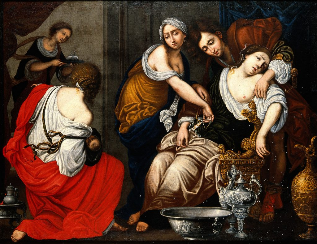 Figure 1-7. A baroque style painting of Rachel, her birth attendants, and newborn. Rachel sits slumped over in an exhausted stupor. She is supported by a birth attendant and her husband, Jacob. A birth attendant in the bottom left of the painting holds the newborn Benjamin, just his head is visible. A third attendant enters the room from the top left, carrying what may be oils.