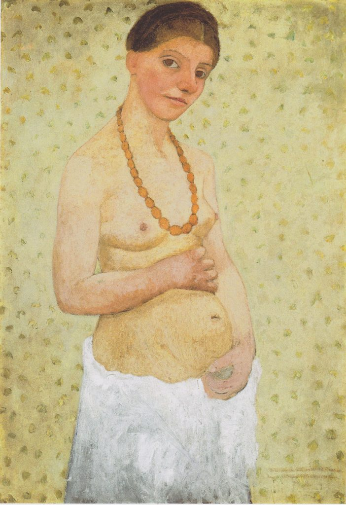 Figure 1-8. An expressionist painting of a young white woman standing in a three-quarter angle to the viewer, against a pale yellow wallpapered background. She is topless, but wears a necklace made of large orange beads. Her pregnant belly is exposed, and she rests her right hand (the hand facing the viewer) on top, with the left hand supporting the bottom of her belly. She wears a white towel or skirt around her hips. She has warm brown hair, tied in a braid encircling her head. She has large warm brown eyes, a rosy face, and sports a contemplative, but content, look on her face. The brush strokes are soft, yet visible (distinct).