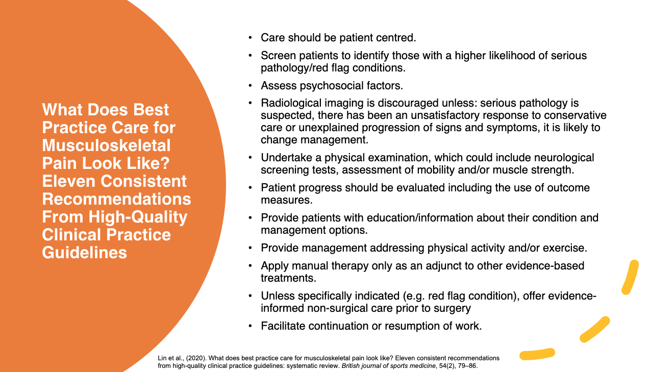 Best Practice Recommendations for Musculoskeletal Pain