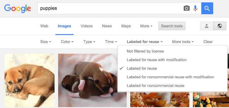 Google search results after clicking the IMAGES option. There is a drop down menu under Labeled for reuse that shows the 5 limiters for images labeled for reuse.