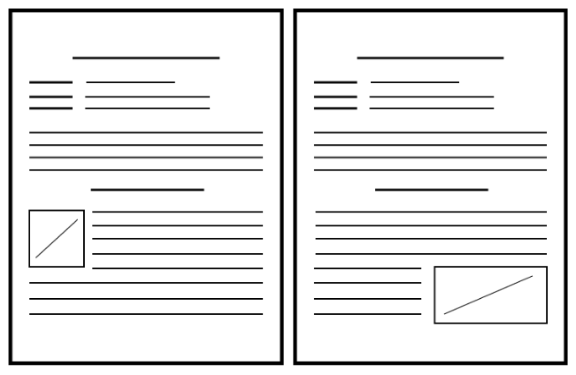 Two, blank, lined pages one showing an image left justified and one shoiwng a right justified image.