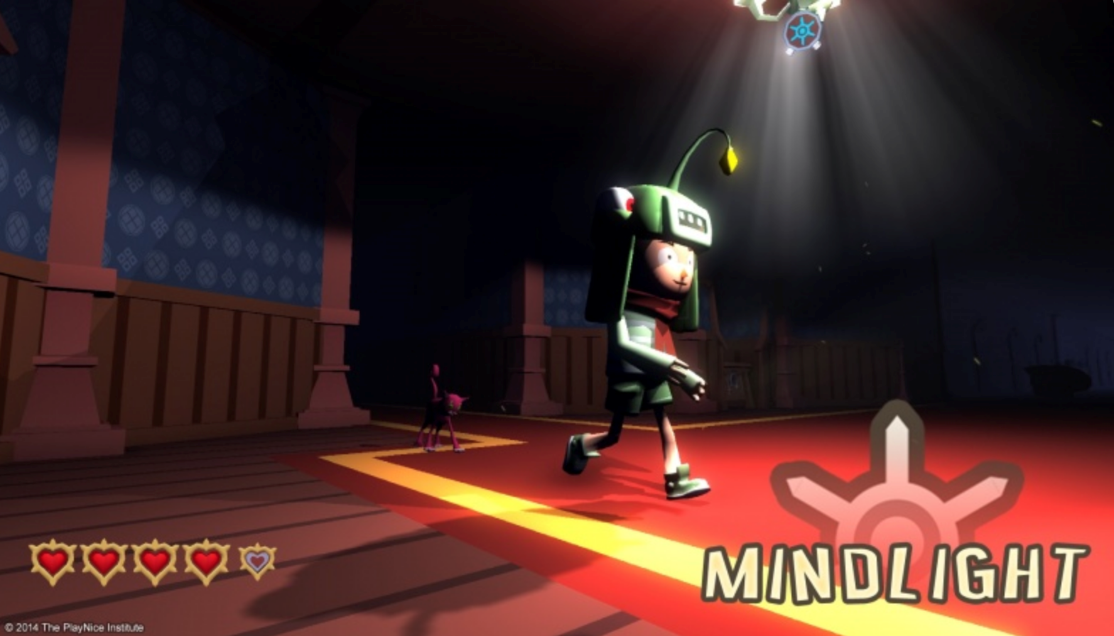 "An image from the videogame ""Mindlight."" In this image, a cartoon child is walking with a helmet on that has a light. The light is illuminating the walking path of the child."