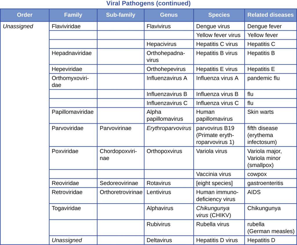 A table summarizing viral pathogens - continuation