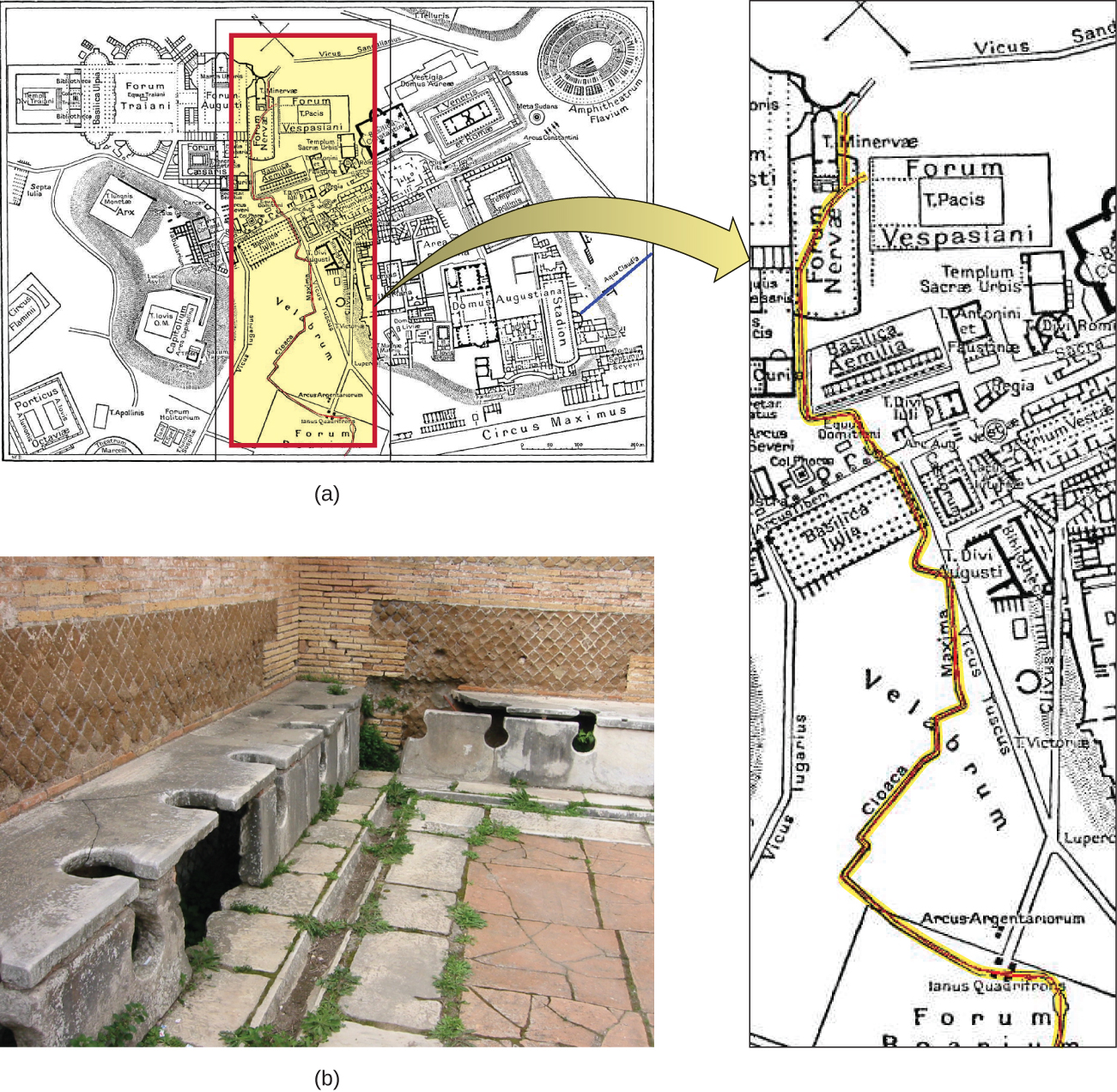 Figure a is a map of ancient Rome, showing the first sewer, which ran through the centre of the city. Figure b shows ancient latrines that carried waste away from the city and into the river Tiber.