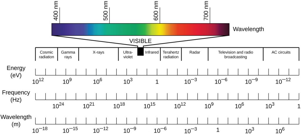 Figure of the electromagnetic spectrum, which ranges from high-frequency gamma rays to low-frequency radio waves. Visible light is the relatively small range of electromagnetic frequencies between ultraviolet and infrared light that can be sensed by the human eye.