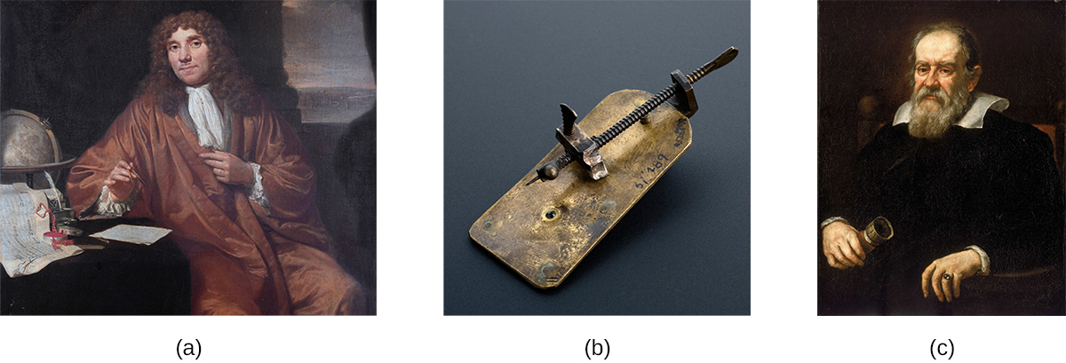 Photo a is of Antonie van Leeuwenhoek. Photo b is of his simple microscope, consisting of a small metal plate with a long screw attached along its length. The tip of the screw is a fine point that sits just in front of an opening on the plate. Photo c is a portrait of Galileo Galilei.