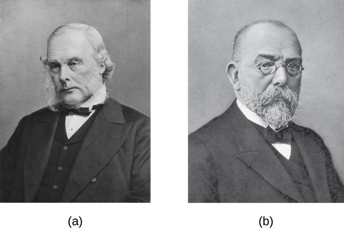 a) Photo of Joseph Lister b) Photo of Robert Koch