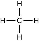 Methane is drawn with a C in the centre. Four lines project from the C in 4 different directions, there is an H at the end of each line.