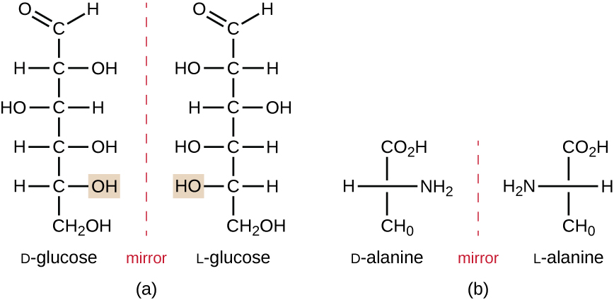 Diagrams showing enantiomers of glucose and alanine.