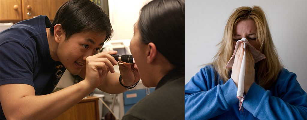 A photo of a medical professional looking in a patient's mouth. A photo of a person sneezing.