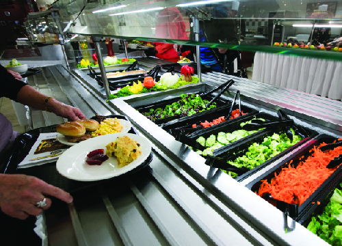 Photo of food at a cafeteria with glass shielding over the food.