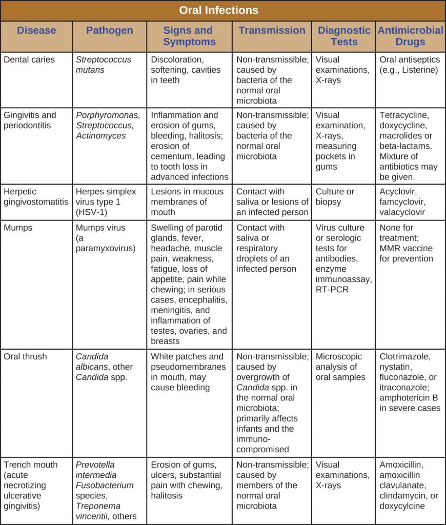 Table summarizing oral infections, causative agents, signs and symptoms,, modes of transmission, diagnostic tests and treatment