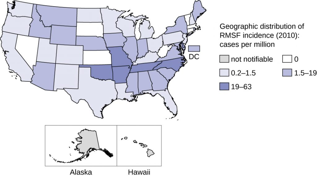 Map of geographic distribution of RMS incidence in 2010; cases per millions. Not notifiable in Alaska and Hawaii.