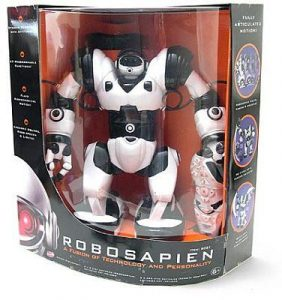 Robosapian for sale in a black box with a clear, curved front. The sides of the box are adorned with images and interesting facts about the robot.