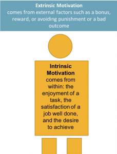 Geometric representation of a person with Intrinsic Motivation defined inside of them as: comes from within: the enjoyment of a task, the satisfaction of a job well done and the desire to achieve. Rectangle above the person with Extrinsic Motivation defined inside of it as: comes from external factors such as a bonus, reward or avoiding punishment or a bad outcome.