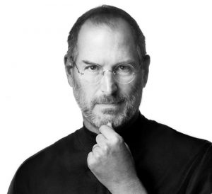 Black and white photograph of Steve Jobs