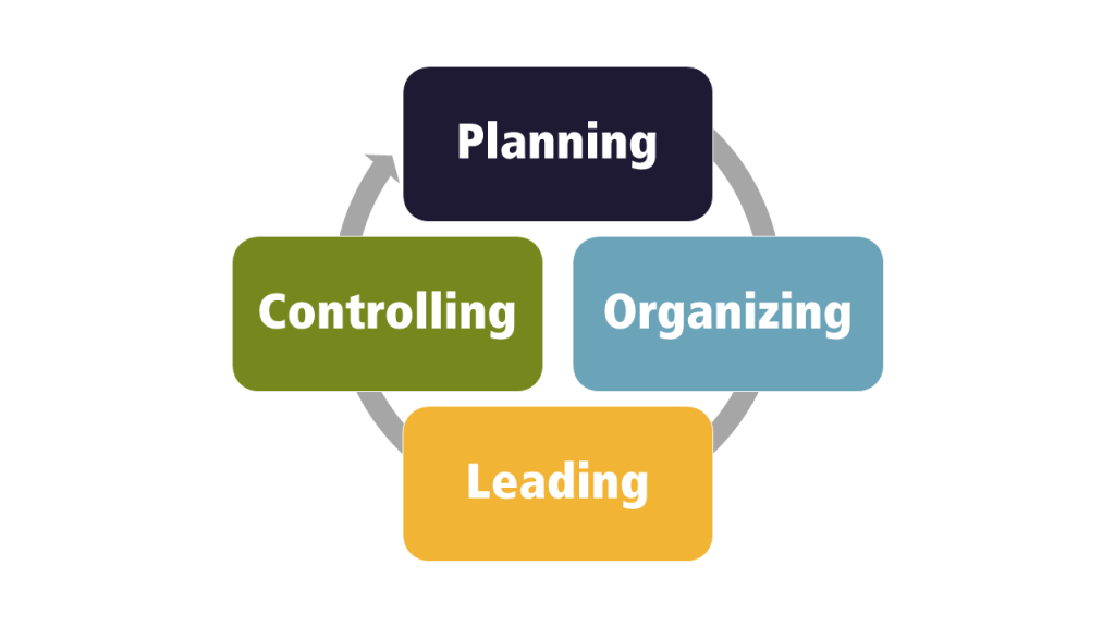 Circular management process: planning to organizing to leanding to controlling