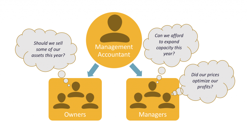 """Graphic showing the Management Accountant at the center, with their relationships with the Owners and Managers Groups branching out from that. Speech bubbles show the owners considering """"Should we sell some of our assets this year?"""" whereas the Managers are thinking """"Can we afford to expand capacity this year?"""" and """"Did our prices optimize our profits?"""""""