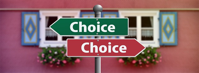 """Signs pointing in opposite directions with """"Choice"""" written on them."""