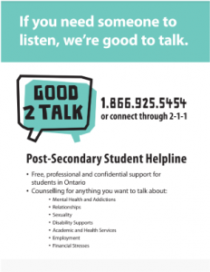 Good2Talk Helpline 1-866-925-5454