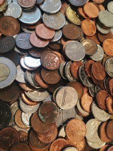 Assorted coins.