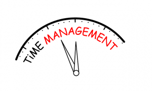"""Illustration of a clock with the words """"time management."""""""