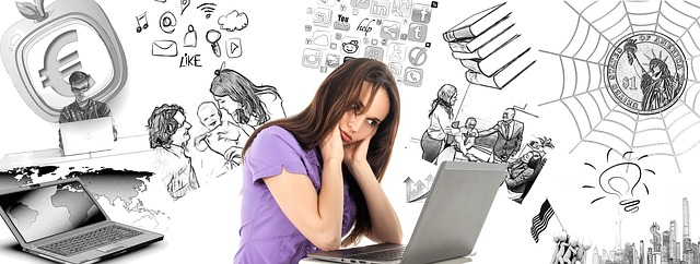 Woman at laptop looking stressed with drawings of daily life in the background.